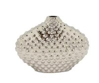 """8"""" Silver Ceramic Dotted Oval Vase"""