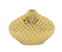 "8"" Gold Ceramic Dotted Oval Vase"