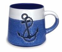 16 oz Blue and White Anchor With Rope Stoneware Mug