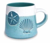 16 oz Turquoise and White Sand Dollar and Shell Stoneware Mug