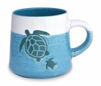 16 oz Turquoise and White Sea Turtles Stoneware Mug