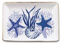 """4"""" x 5"""" White and Blue Indigo Shells Trinket Tray"""