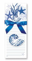 Pack of 2 Blue Indigo Shells Magnetic List Pads and Decorative Magnet