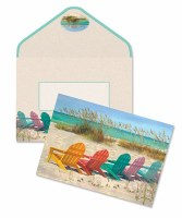 """Box of 10 4"""" x 5"""" Colorful Adirondack Beach Chairs Note Cards"""