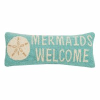 "8"" x 20"" Aqua Mermaids Welcome Sand Dollar Pillow"