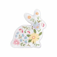 """14"""" Multicolor Floral Bunny Shaped Pillow"""