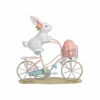 "6"" Bunny on Bike With Egg in Basket Figurine"