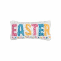 """6"""" x 12"""" Blue, Pink, and Yellow Easter Hooked Pillow"""