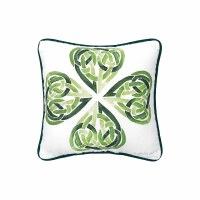 "10"" Square Green Celtic Clover Knot Pillow"