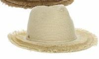 """3"""" Brim Natural Braided Safari Hat With Frayed Brim"""