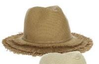 """3"""" Brim Toast Braided Safari Hat With Frayed Brim"""