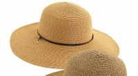 """4"""" Brim Natural Braided Round Hat With Faux Leather Band and Chin Cord"""