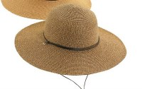 """4"""" Brim Coffee Braided Round Hat With Faux Leather Band and Chin Cord"""