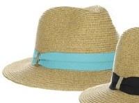 "3"" Natural Braided Safari Hat With Aqua Grosgrain Band"