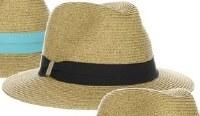 "3"" Natural Braided Safari Hat With Black Grosgrain Band"