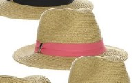 "3"" Natural Braided Safari Hat With Coral Grosgrain Band"