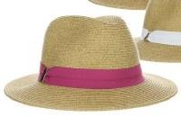 """3"""" Natural Braided Safari Hat With Fuschia Grosgrain Band"""