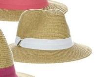 "3"" Natural Braided Safari Hat With White Grosgrain Band"