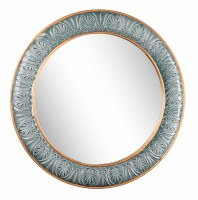 "30"" Round Blue and Gold Embossed Framed Wall Mirror"