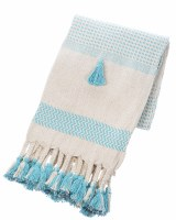 "50"" x 60"" Turquoise and Natural Striped Woven Throw With Braided Tassels"