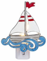 "5"" Red, White, and Blue Metal Sailboat Night Light"