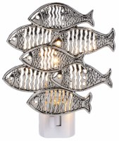 "5"" Silver Metal School of Fish Night Light"