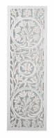 """42"""" x 13"""" Antique White Carved Floral Wall Panel With Mirror Back"""