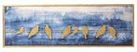 """12"""" x 36"""" Gold Birds on Wire at Night Wall Plaque"""