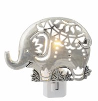 "4"" Silver Boho Elephant Night Light"