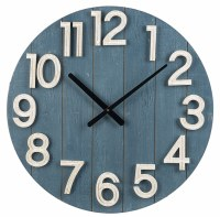"""24"""" Round Blue Shiplap With White Numbers Wall Clock"""