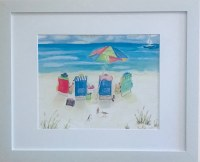 "13"" x 16"" Four Friends Sitting on the Beach White Framed Wall Art"
