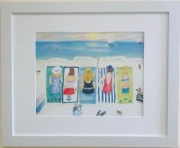 """13"""" x 16"""" Five Friends Laying on the Beach White Framed Wall Art"""