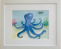 """13"""" x 16"""" Blue Octopus anb Swimming Turtle White Framed Wall Art"""