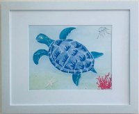 """13"""" x 16"""" Blue Sea Turtle and Swimming Turtle White Framed Wall Art"""