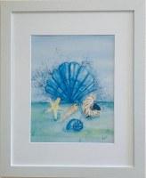"16"" x 13"" Blue Scallop Shell Sea Life White Framed Wall Art"