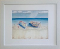 """18"""" x 22"""" Two Boats on the Beach White Framed Wall Art"""
