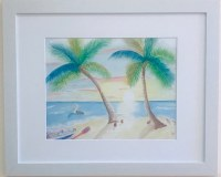 """18"""" x 22"""" Pelican Under Two Palms White Framed Wall Art"""