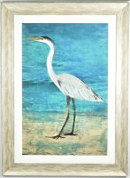 """45"""" x 33"""" Blue Heron with Turquoise Background Gel Textured Print in White Frame"""