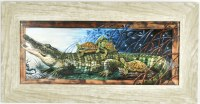 """11"""" x 21"""" Alligator and Turtle Gel Textured Print in Gray Frame"""