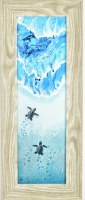 """10"""" x 24"""" Blue Seaturtles with Tracks Gel Textured Print in Gray Frame"""