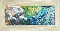 "11"" x 21"" Manatee in Mangrove Gel Textured Print in Gray Frame"