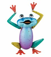 "11"" Blue, Purple and Green Metal Hands Up Frog Garden Decor"