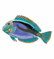 """14"""" Blue and Green Glass and Metal Parrot Fish Wall Plaque"""