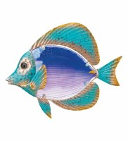 """10"""" Blue and Green Glass and Metal Butterfly Fish Wall Plaque"""