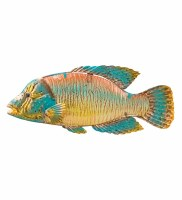 """18"""" Multicolor Glass and Metal Sea Bass Wall Plaque"""