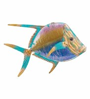 """16"""" Multicolor Glass and Metal Look Down Fish Wall Plaque"""