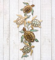 """44"""" Brown and Green Metal Five Sea Turtle Wall Plaque"""