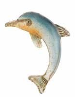 """9"""" Blue and Orange Metal Dolphin Wall Plaque"""