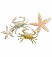 "37"" Multi Pastels Metal Crab & Starfish Wall Plaque"