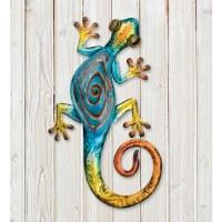 "14"" Blue With Orange Swirl Metal Gecko Wall Plaque"